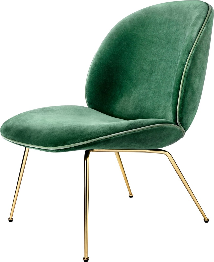 Beetle Lounge Chair - Fully upholstered / Brass / GUBI Velvet 787