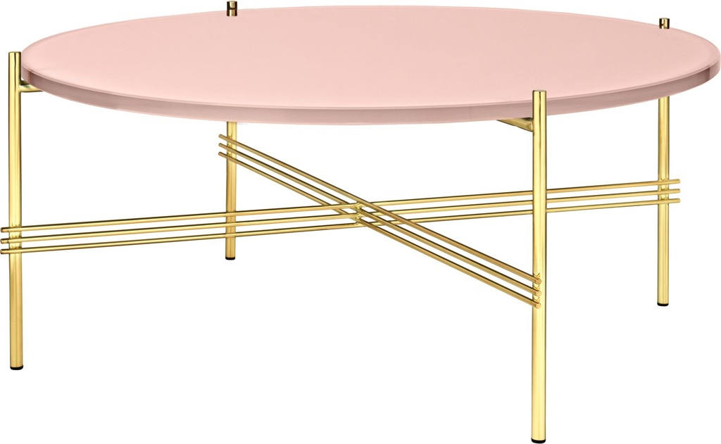 TS Coffee Table - Round 80 / Brass / Vintage red glass
