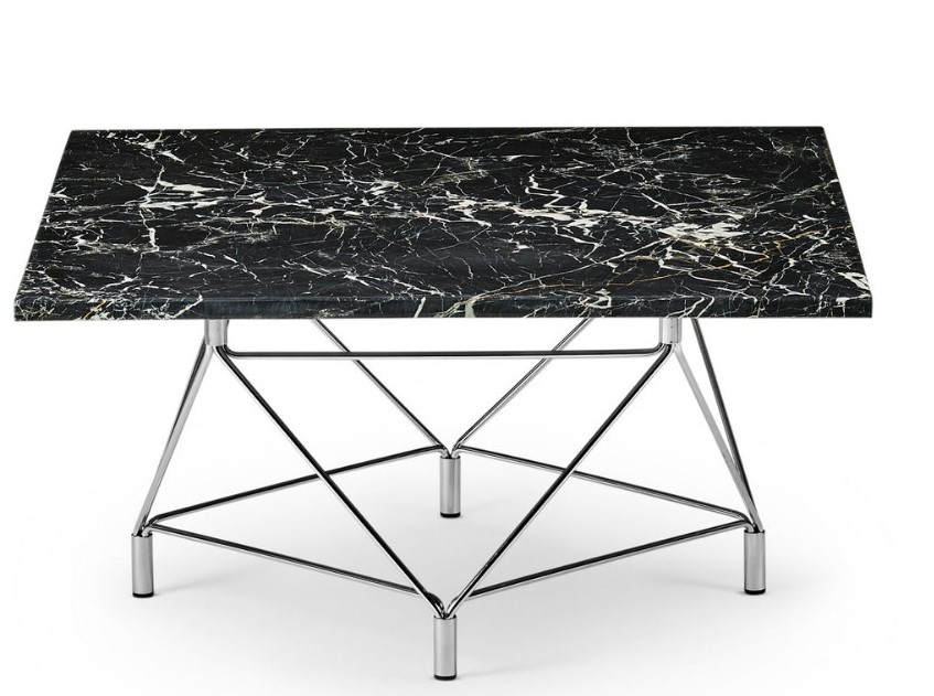 Spider Coffee Table Square 120 x 120 cm / Wooden marble / Stainless steel