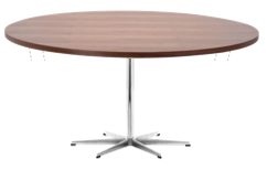 A826 - Table Circular / Chrome / Walnut