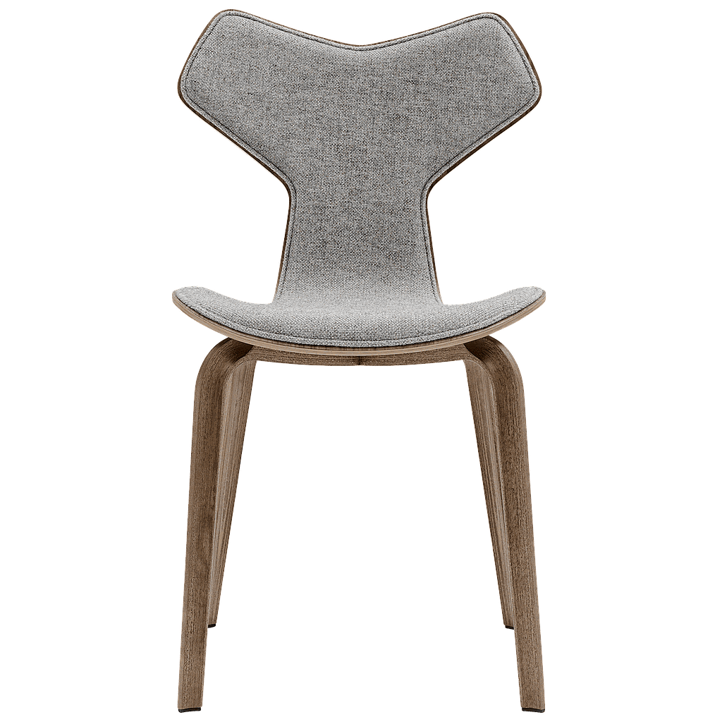 4130 - Grand Prix Chair wood base Front upholstered-Coloured ash