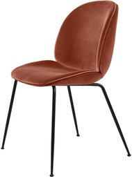 Beetle Dining Chair - Fully upholstered / Antique brass / Velluto 641 Rusty red